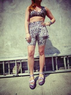 Bullet+print+high+waist+peplum+biker+shorts+with+matching+sports+bra+crop+top.+  Handmade+and+designed+by+me Fun+outfit+for+a+night+out+on+the+town!+  Sizing+similar+to+American+apparel+