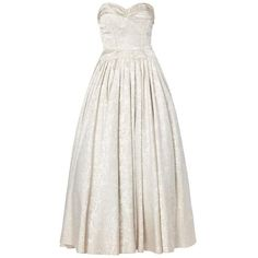 Preowned Jeanne Lanvin Haute Couture Silver Gown, Spring/summer 1948 ($7,849) ❤ liked on Polyvore featuring dresses, gowns, multiple, white dress, white strapless dress, formal gowns, vintage evening gowns and silver gown
