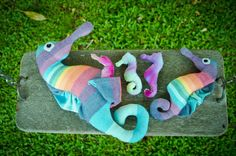 Woven Wrap Scrap Seahorse Stuffed Toy Family by PicklesPretties, $90.00...I think Everett needs these for Christmas!!!