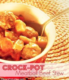 Crock-Pot Meatball Beef Stew {via CrockPotLadies.com} - This easy to prepare recipe is a kid friendly take on a classic beef stew but uses meatballs (frozen or homemade) instead of stew meat. Everyone in the family will love this yummy recipe!