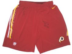 8d042bf33 Darrel Young Training Worn   Signed Official Washington Redskins Nike Speed  Vent Performance Dri-FIT XL Shorts