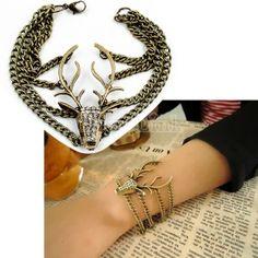 New Nice Vintage Rhinestone Deer Head Model Bronze Bracelet