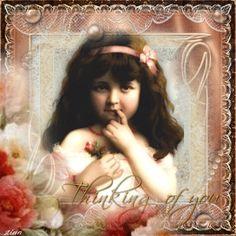 Thinking of you ... Vintage girl... Blingee by stina scott