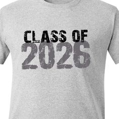 """How I love this idea! Put your kindergartener in this adult size """"Class of 2026"""" every year from K-12, and literally see them grow into the shirt!!  By zoeysattic on Etsy, $18.00"""