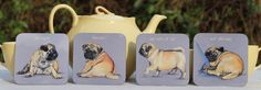 lovely new 'pugs for mugs' coasters, available from my shop