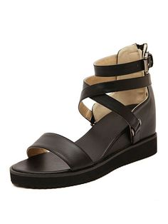 Black, Ankle, Cross Strap, Low Wedge, Sandals