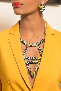 African accessories - Ladies Check Out This 25 Stylish Ankara Necklaces and Earrings – African accessories Diy African Jewelry, African Accessories, African Necklace, Women's Accessories, Textile Jewelry, Fabric Jewelry, Clay Jewelry, Beaded Jewelry, Handmade Jewelry