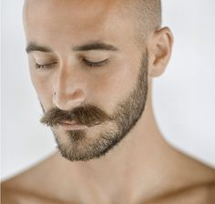 Mustache, cropped hair and beard