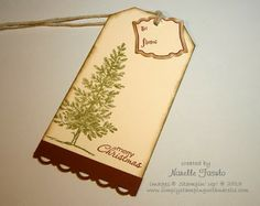 Stamps: Lovely As A Tree, Petite Pairs, Label Love Paper: Very Vanilla, Cherry Cobbler Inks: Old Olive, Cherry Cobbler, Soft Suede Accessories: Scallop Trim Border Punch, Artisan Label Punch, Sponge Dauber Non SU: Single Hole Punch, Cotton Twine