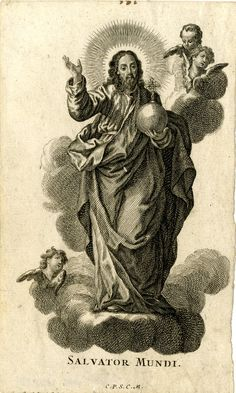 Christ as Salvator Mundi  holding orb in a landscape; putti hovering above. c.1750s  Engraving with etching