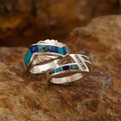 David Rosales Couples' Set Blue Mountain Inlaid Sterling Silver Ring from Black Arrow Jewelry Natural Emerald Rings, Emerald Ring Gold, Gold Diamond Rings, Natural Diamonds, Silver Claddagh Ring, Sterling Silver Rings, Silver Jewelry, Gold Jewellery, Silver Earrings
