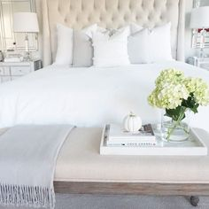 Tufted bed by Arhaus white bedding See this Instagram photo by @thedecordiet • 148 likes