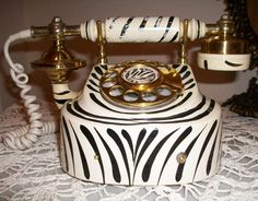 Vintage French Style Rotary Dial Zebra Print by sistersusiesells, $83.00
