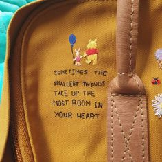 Embroidery of Winnie the Pooh quote on my yellow Kanken Backpack Another embroi.,Embroidery of Winnie the Pooh quote on my yellow Kanken Backpack Another embroidery addition to my backpack featuring Winnie the Pooh and Piglet. The . Embroidery On Clothes, Cute Embroidery, Hand Embroidery Patterns, Embroidery Designs, Embroidery Books, Vintage Embroidery, Embroidery Stitches, Yellow Kanken, Mochila Kanken