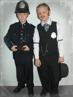 "My eight year-old twin sons in their Hallowe'en 2012 costumes: Constable George Crabtree & Inspector Thomas Brackenreid, characters from ""Murdoch Mysteries,"" a Canadian TV series set in 19th Century Toronto."