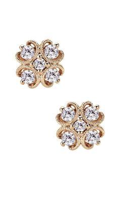 14k Pink Gold Victorian Stud Earrings