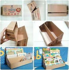 New DIY Bookshelf Ideas DIY Craft Ideas diy cardboard crafts ideas Cardboard Organizer, Cardboard Storage, Cardboard Display, Cardboard Crafts, Diy Storage, Cardboard Boxes, Cardboard Playhouse, Storage Ideas, Diy Cardboard Furniture