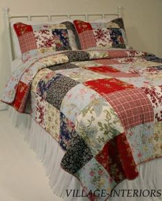 EMILIA FRENCH COUNTRY COTTAGE RED, BLUE KING QUILT SET-Ebay 129.99