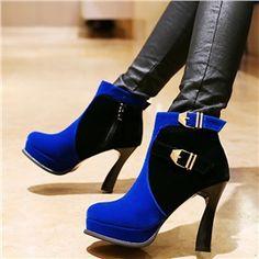 Color Block Hasp Detail Platform Side Zipper High Heeled Ankle Boots