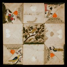 Puzzle Purse Love Token (recto) c.1830-1832. Possibly by: John Pittenger Van Doren (1810-1845), America, New Jersey Primary Support: 12 1/2 x 12 3/8in. (31.8 x 31.4cm)  Watercolor and ink on wove paper. Acc. No. 2009.305.1