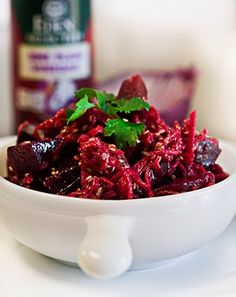 Roasted Beet Salad with Chia Sesame Dressing and Cilantro.....vegan.