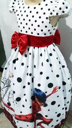 53e3a45ff4 Vestido LadyBug Miraculous Infantil Tam. 01 ao 14 - Tia Gina Vestidos  Infantis Temáticos feito