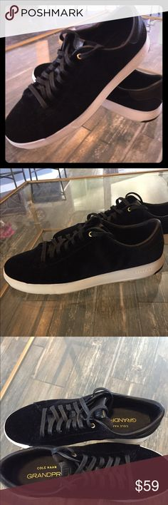 Cole Haan Grand Pro Tennis Shoe Cole Haan Grand Pro pair of ladies black  velvet tennis