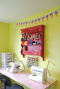 sewing table and storage - great for small spaces ! I need a craft room! Sewing Spaces, My Sewing Room, Sewing Rooms, Table For Small Space, Small Spaces, Coin Couture, Sewing Room Organization, Quilting Room, Sewing Table