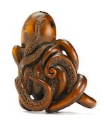 A wood netsuke of an octopus By Jugyoku, Tokyo, Edo period (1615-1868), 19th century
