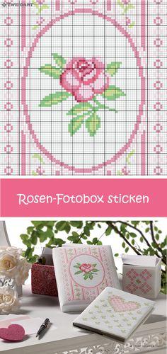 Zarte Rose in Rosa auf eine Fotobox sticken #Sticken #Kreuzstich / #Rose; #Embroidery #Crossstitch / #flower / #ZWEIGART