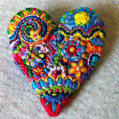 Freeform embroidery heart brooch