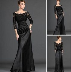 Lace Top Elastic Satin Skirt See Through Black High Neck Evening Dress Long Sleeve-in Evening Dresses from Apparel & Accessories on Aliexpress.com