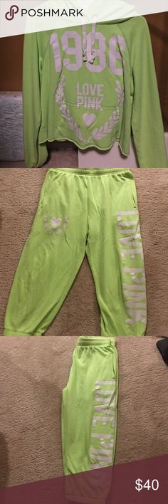 PINK by VS Lime green, with hoodie. Pants are to mid calf like capris Other