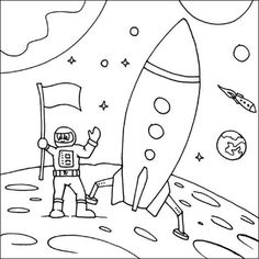 Community Helpers Coloring Pages Astronaut Rocket from Astronaut Coloring Pages. Astronaut coloring pages will tell about the men who specialize in flights outside the Earth's atmosphere. The expeditions give the pieces of informat. Space Coloring Pages, Moon Coloring Pages, Preschool Coloring Pages, Online Coloring Pages, Coloring Pages To Print, Printable Coloring Pages, Adult Coloring Pages, Coloring Pages For Kids, Coloring Books