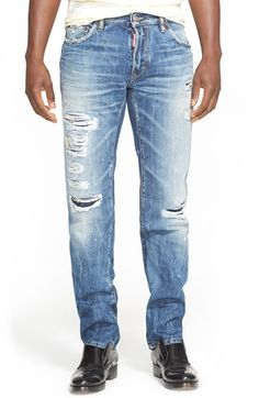 Dsquared2 'Dean' Ripped & Repaired Jeans (Indigo) available at #Nordstrom