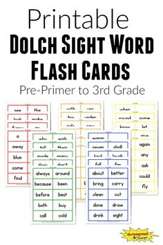 Dolch Sight Word Flash Cards Free Printable