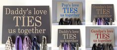 love this for father's day! Eustaquio Wheeler what do you think? We could do it on a board, but put pics of the grandkids around the edges? For father's day for grandpa Grandkids Sign, Wooden Tie, Tie Rack, Tie Hanger, Dad Day, Fathers Day Crafts, Grandparents Day, Poker Chips, Mother And Father