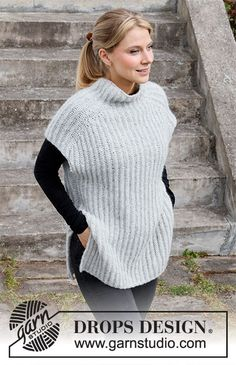 Easy Over / DROPS 217-13 - Free knitting patterns by DROPS Design Easy Knitting Patterns, Free Knitting, Drops Design, Knit Vest Pattern, Crochet Diagram, Work Tops, Garter Stitch, Crochet Designs, Clothes