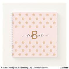 Mandala rose gold pink monogram script yoga notebook Mandala Rose, Rose Gold Pink, Notebook Covers, Monogram Letters, Mandala Design, Page Design, Notebooks, Hand Lettering, Script