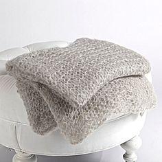 Hand Knit Mohair Throw - Light Gray