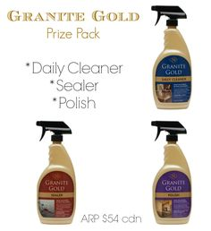 Granite Gold Gold Prize, How To Clean Granite, Daily Cleaning, Household Cleaners, Spray Bottle, Cleaning Supplies, Giveaways, Collage, Collages