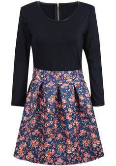 Black Long Sleeve Contrast Blue Floral Dress US$42.62