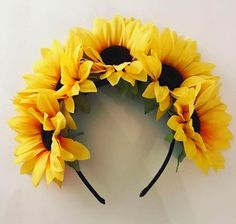 crown headband Items similar to Large Sunflower Crown headband festival headband sunflowers boho style Bohemian Coachella natural style flower headband on Etsy Wedding Headband, Halo Headband, Flower Crown Headband, Bridal Crown, Sunflower Birthday Parties, Sunflower Party, Sunflower Baby Showers, Fascinator, Sunflower Headband