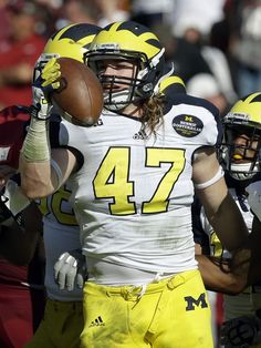 Michigan Jake Ryan! From St Ignatius High Westlake OH to U of M A2 to the NFL. JR wore #90 & #47 [Bennie Oosterbaan's retired #]. Named All-Big Ten 2014. He recorded a career high 11 tackles in a single game in 2014 against a team from South Bend IN.
