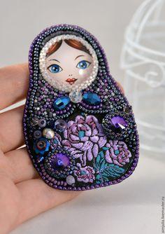 Купить Брошь матрёшка - тёмно-фиолетовый, синий, фиолетовый, сиреневый, разноцветный, бирюзовый, морская волна