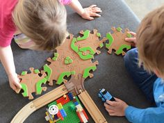 Creative Eco-Wood Toy Tracks | Tobo Tracks. This is so cool, these tracks many all kinds of configuration and also join with common tracks and Legos!