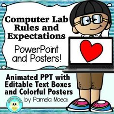 Animated PowerPoint and Colorful Posters will make your Computer Lab time a lot easier! Introduce your students to tech rules and expectations for smoother sailing.  Editable PPT for both presentation and posters are included so you can write your own rules.