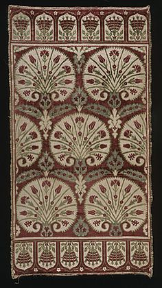 Turkey, Bursa  Cushion Cover (Yastik), circa 1600  Textile, Cut and voided silk velvet on silk and cotton ground with metal thread supplementary weft (çatma), 47 1/4 x 25 in. (120 x 63.5 cm)