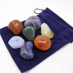 This Chakra kit contains one of each of the following:  Amethyst, Sodalite, Blue Lace Agate, Aventurine – Green, Citrine Carnelian.  Red Jasper