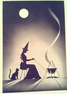 ✯ Witch and Pet :: Artist Unknown ✯  this is on the cover of a deck of Gypsy Witch fortune telling cards i got in Salem MA a while back